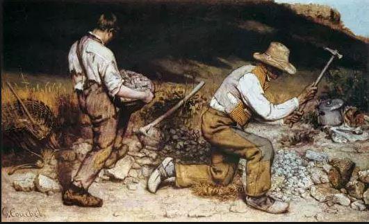 On voit deux casseurs de pierres accroupis représentés avec réalisme.