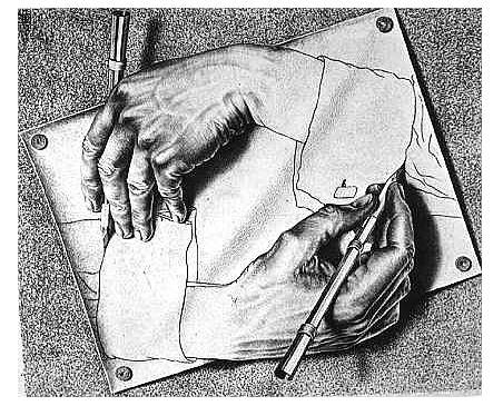 On voit deux mains se dessiner elles-mêmes créant une autobiographie.