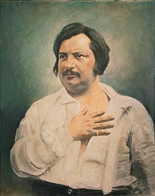 On voit Honoré de Balzac la main sur la poitrine et tourné de trois-quart.
