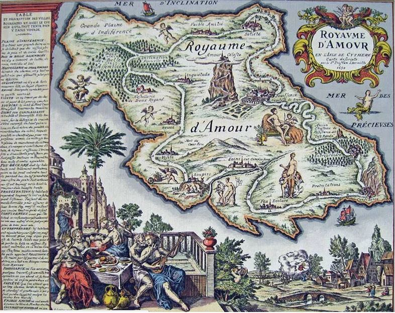 On voit la carte de la Préciosité aussi appelée carte du Tendre où son placés des lieux symbolisant l'amour courtois.