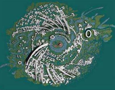 On voit de dessus la definition de l'utopie avec le projet indien d'Auroville.