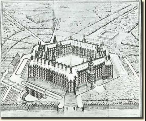 On voit l'abbaye de thélème sur un croquis d'architecture.