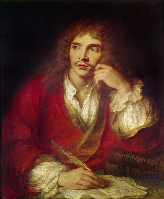 On voit Molière pensif en train décrire une plume à la main, peut-être écrit-il sa biographie?
