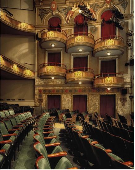 On voit une salle de theatre dont on peut faire le commentaire.
