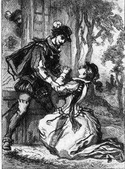 On voit la princesse de Clèves sur une gravure qui fait son aveu à son mari, à genoux.