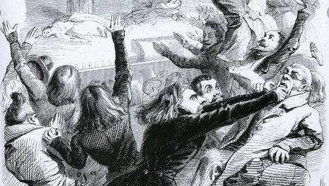 Hernani Victor Hugo. On voit les romantiques et les classiques qui se battent pendant la bataille d'Hernani.