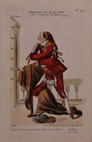 On voit le personnage principal du Mariage Figaro qui réfléchit.